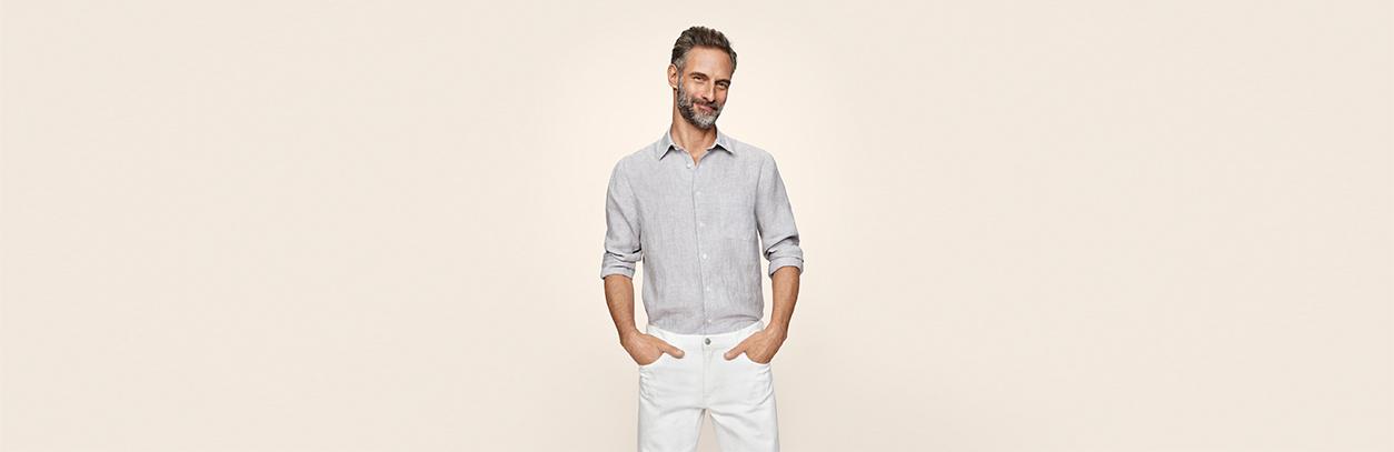 Men linen shirts jackets uniqlo uk for Uniqlo premium t shirt