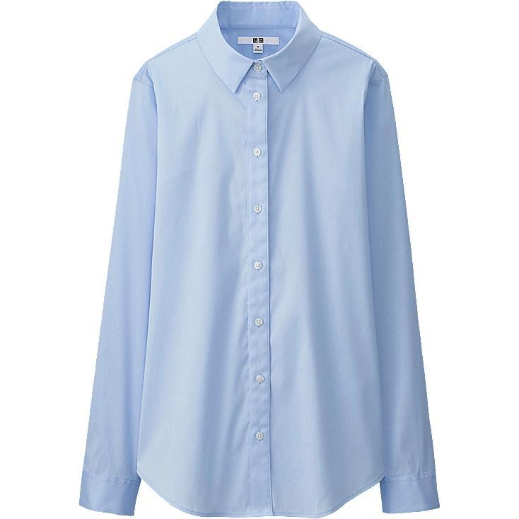 Women supima cotton stretch long sleeve shirt uniqlo for Supima cotton dress shirts