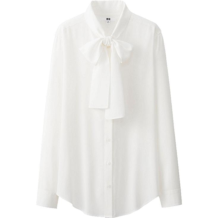 Long Sleeve Blouse With Bow Bow Tie Long Sleeve Blouse