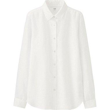 Women Premium Linen Long Sleeve Button Front Shirt Uniqlo Us