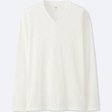 T-Shirt En Coton Supima Col V Manches Longues HOMME