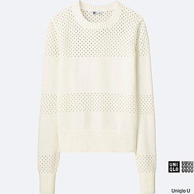 DAMEN U Baumwoll Mesh Pullover langarm