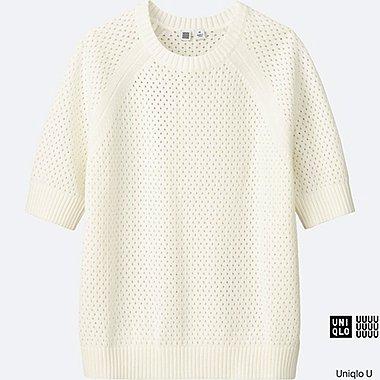 Pull en coton mesh col rond U FEMME