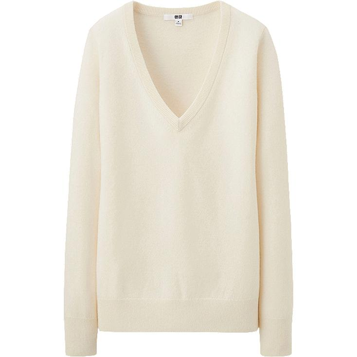 Womens White Cashmere Sweater Women Cashmere v Neck Sweater