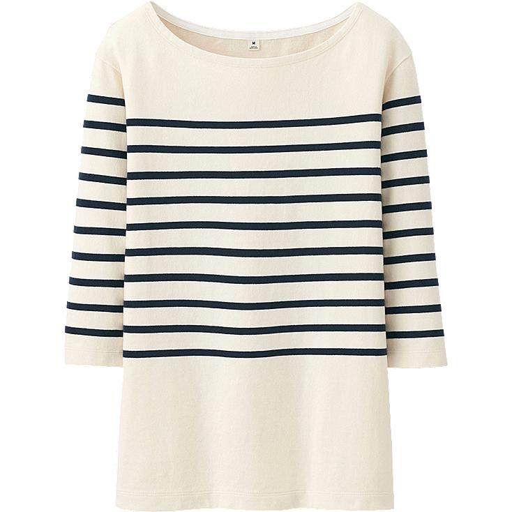 WOMEN PURE BLUE JAPAN STRIPE CREW NECK 3/4 SLEEVE LENGTH T