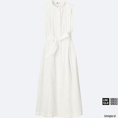Robe longue en crépon de coton sans manche U FEMME