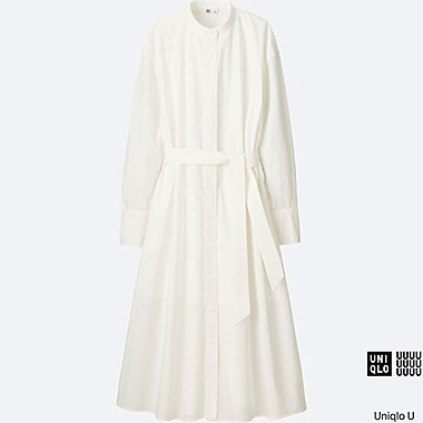 Robe-chemisier longue en coton manches longues U FEMME