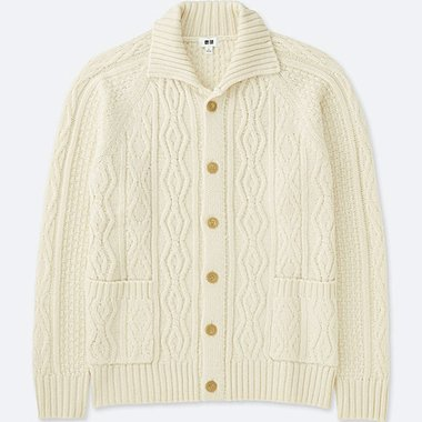 013921961 MEN CABLE KNIT LONG-SLEEVE CARDIGAN