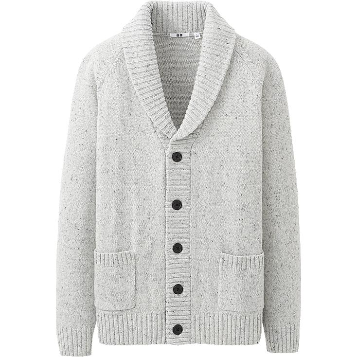 MEN HEAVY GAUGE SHAWL COLLAR CARDIGAN