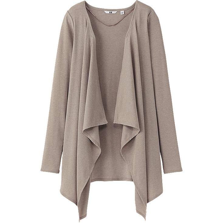 WOMEN EASY DRAPE LONG SLEEVE RIB CARDIGAN