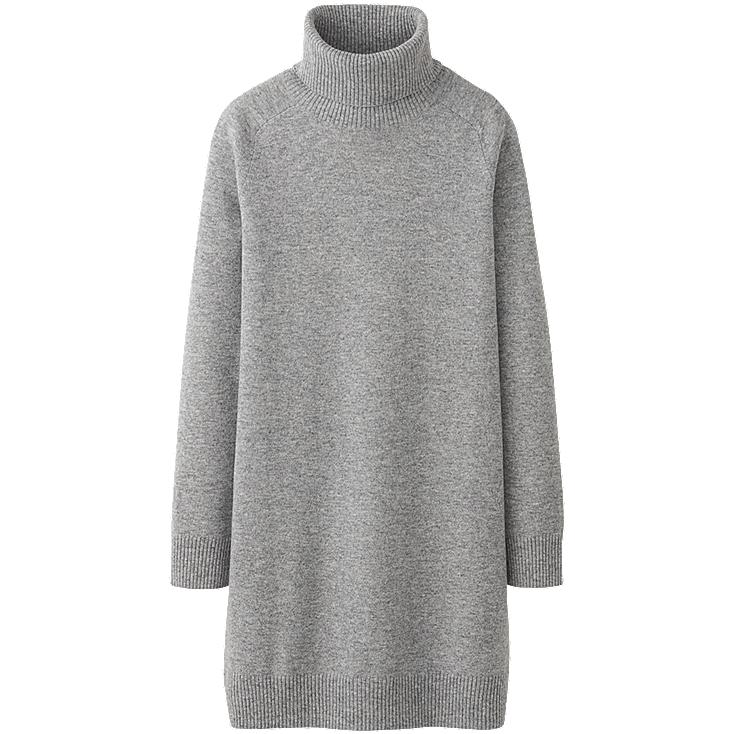WOMEN CASHMERE TURTLE NECK DRESS