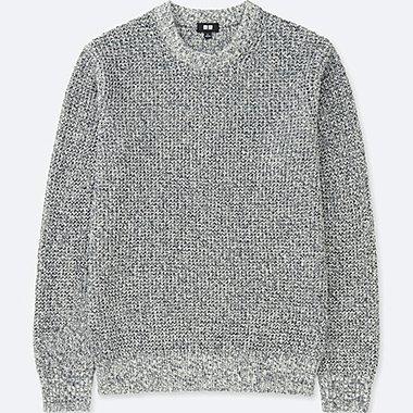 Men Waffle Crewneck Long Sleeve Sweater Uniqlo Us