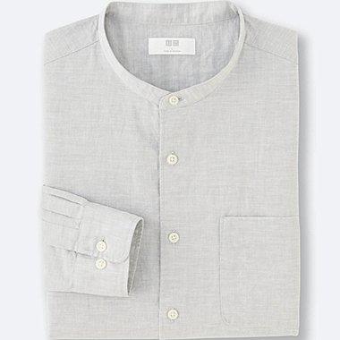 HERREN Baumwoll-Leinen Stehkragen Hemd
