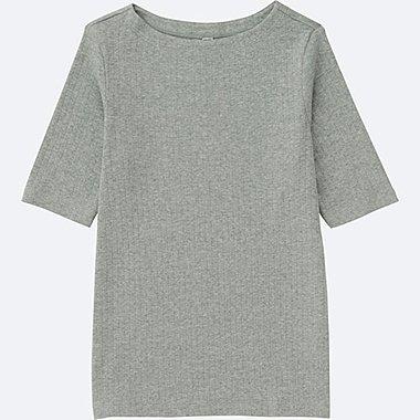 T-Shirt Côtelé Col Bateau FEMME
