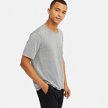dcab8f57c49 MEN AIRism SHORT-SLEEVE LOUNGE SET, GRAY, medium