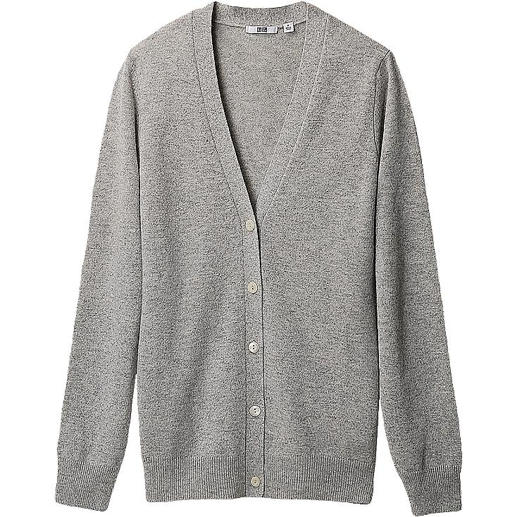 WOMEN CASHMERE V NECK CARDIGAN (LONG SLEEVE)