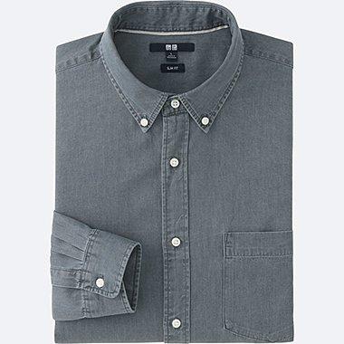 Men Denim Slim Fit Long Sleeve Shirt