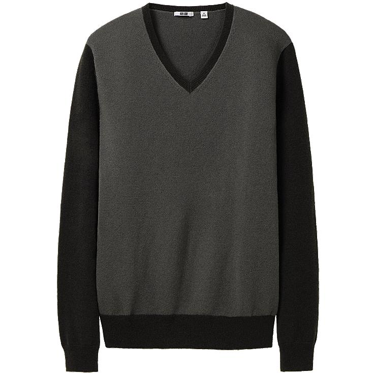 MEN CASHMERE V NECK SWEATER COLOR BLOCK