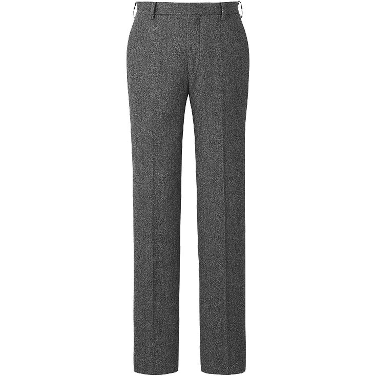 MEN WOOL BLENDED SLIM FIT FLAT FRONT PANTS