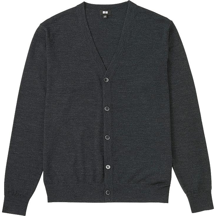 MEN EXTRA FINE MERINO V-NECK CARDIGAN