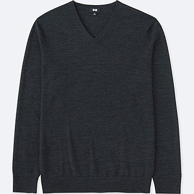 Pull Col V Merinos Manches Longues HOMME