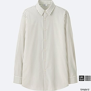 MEN Uniqlo U Extra Fine Cotton Broadcloth Striped Long Sleeve Shirt