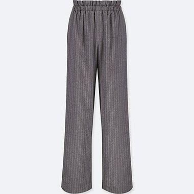 Women High Waist Gathered Stripe Wide Leg Pants Uniqlo Us