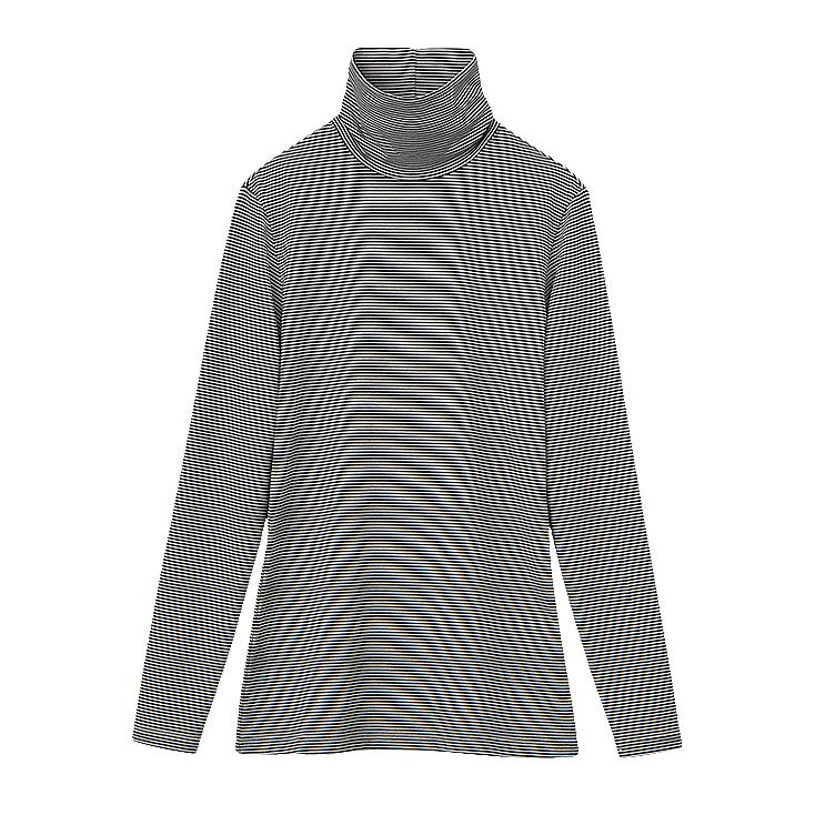 WOMEN HEATTECH TURTLE NECK T-SHIRT (STRIPE) (LONG SLEEVE)