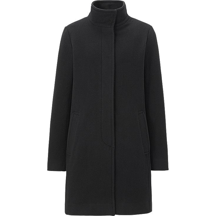 WOMEN WOOL BLENDED STAND COLLAR COAT