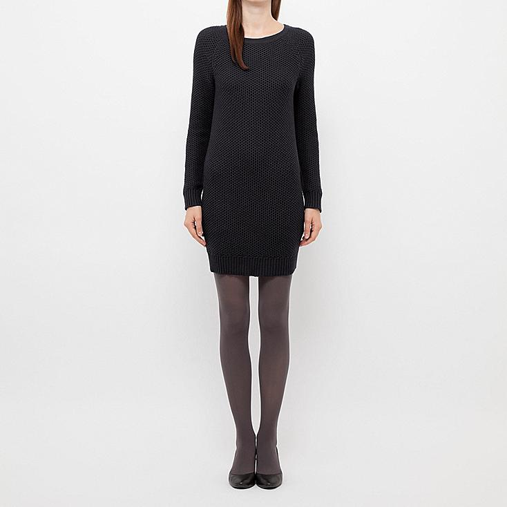 WOMEN HEATTECH KNIT LONG SLEEVE DRESS