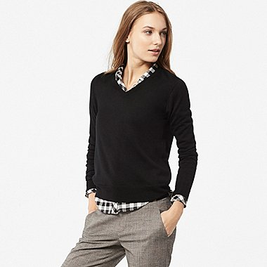 Pull Merinos Extrafin Col V Manches Longues FEMME