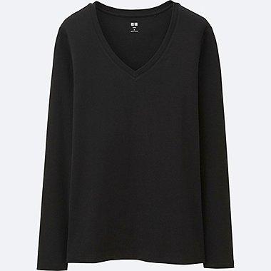 DAMEN Supima Cotton Langarmshirt V-Ausschnitt