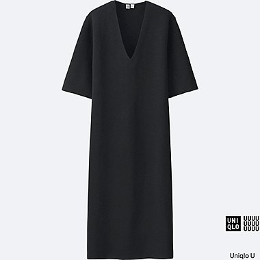 Robe col V en milano côtelé manches courtes U FEMME