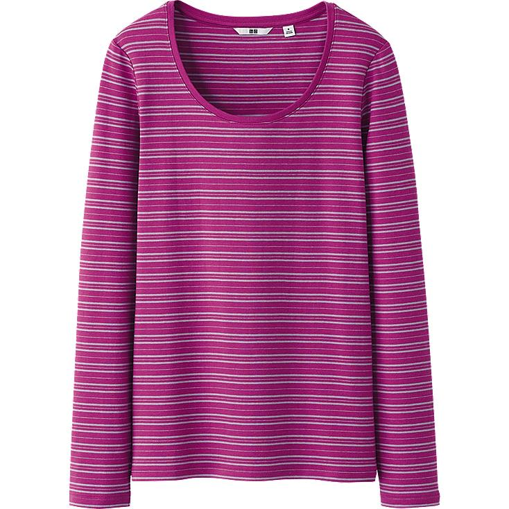 WOMEN PREMIUM COTTON STRIPED CREW NECK LONG SLEEVE T