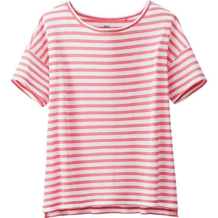 WOMEN MODAL LINEN STRIPED SHORT SLEEVE T