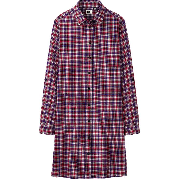 WOMEN FLANNEL CHECK LONG SLEEVE DRESS
