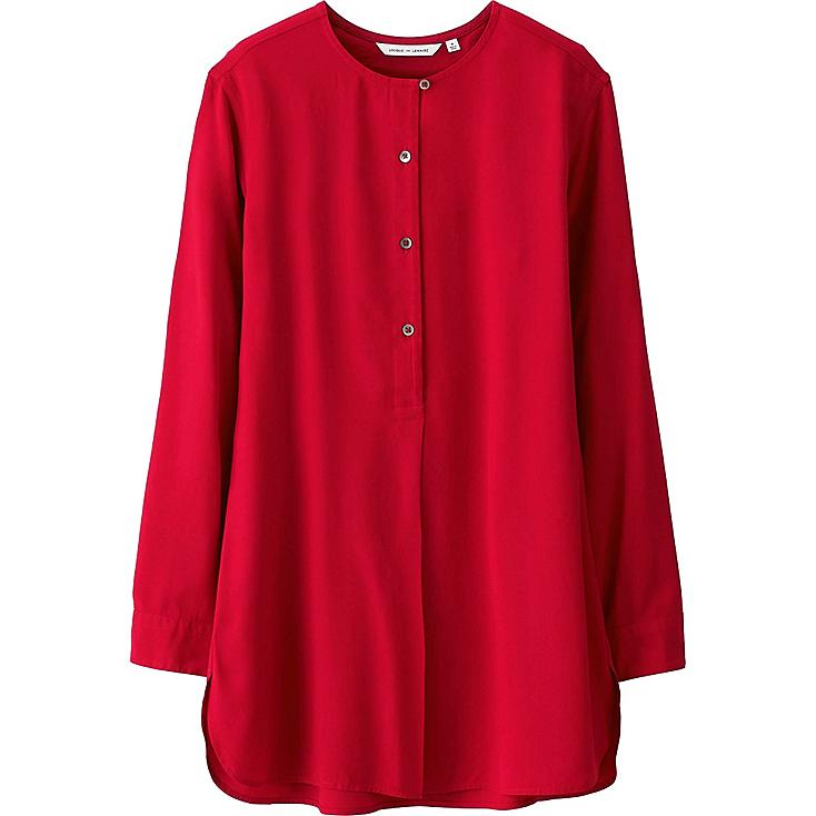 lemaire chemise sans col en viscose femme uniqlo fr. Black Bedroom Furniture Sets. Home Design Ideas