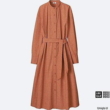 Robe-chemisier imprimée longue en coton manches longues Oversized U FEMME