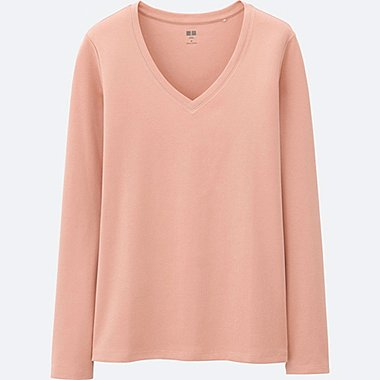 T-Shirt En Coton Supima Col V Manches Longues FEMME