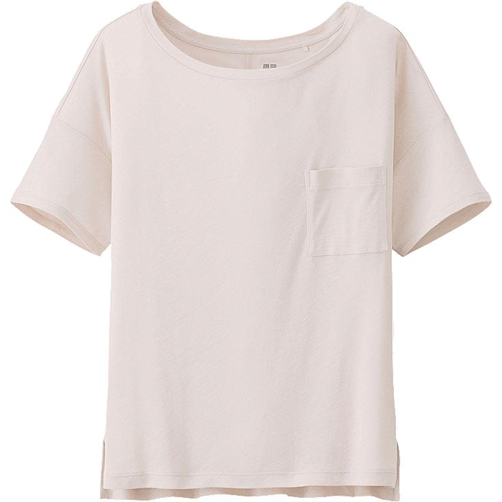 WOMEN MODAL LINEN SHORT SLEEVE BOXY T-SHIRT