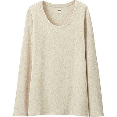 T-Shirt En Coton Supima Col Rond Manches Longues FEMME