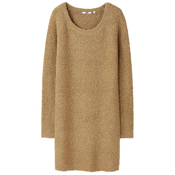 WOMEN BOUCLE KNIT DRESS