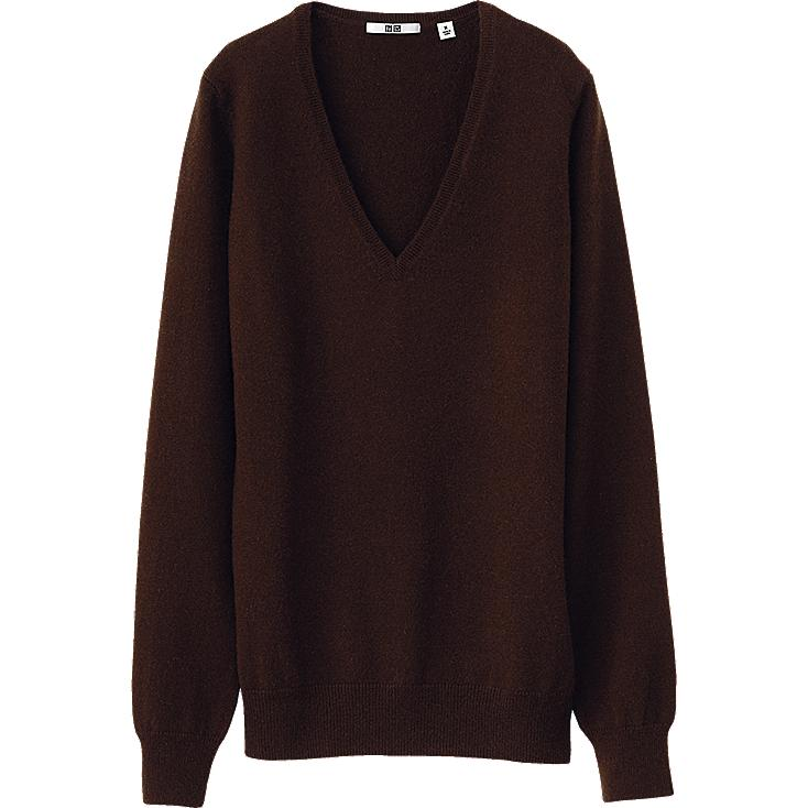 WOMEN CASHMERE V NECK SWEATER (LONG SLEEVE)
