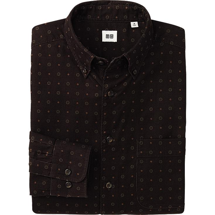 MEN CORDUROY PRINTED LONG SHIRT
