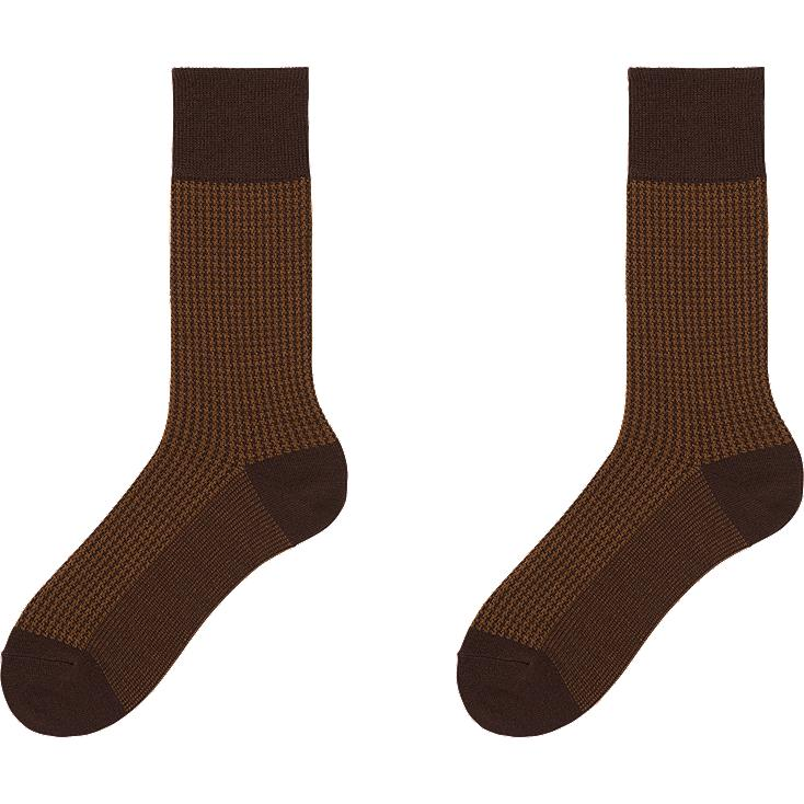 MEN HEATTECH HOUNDSTOOTH SOCKS 2P