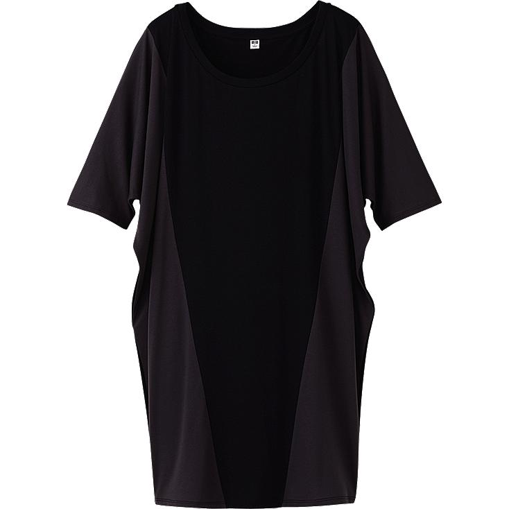 WOMEN EASY DRAPE COLOR BLOCK SHORT SLEEVE DRESS