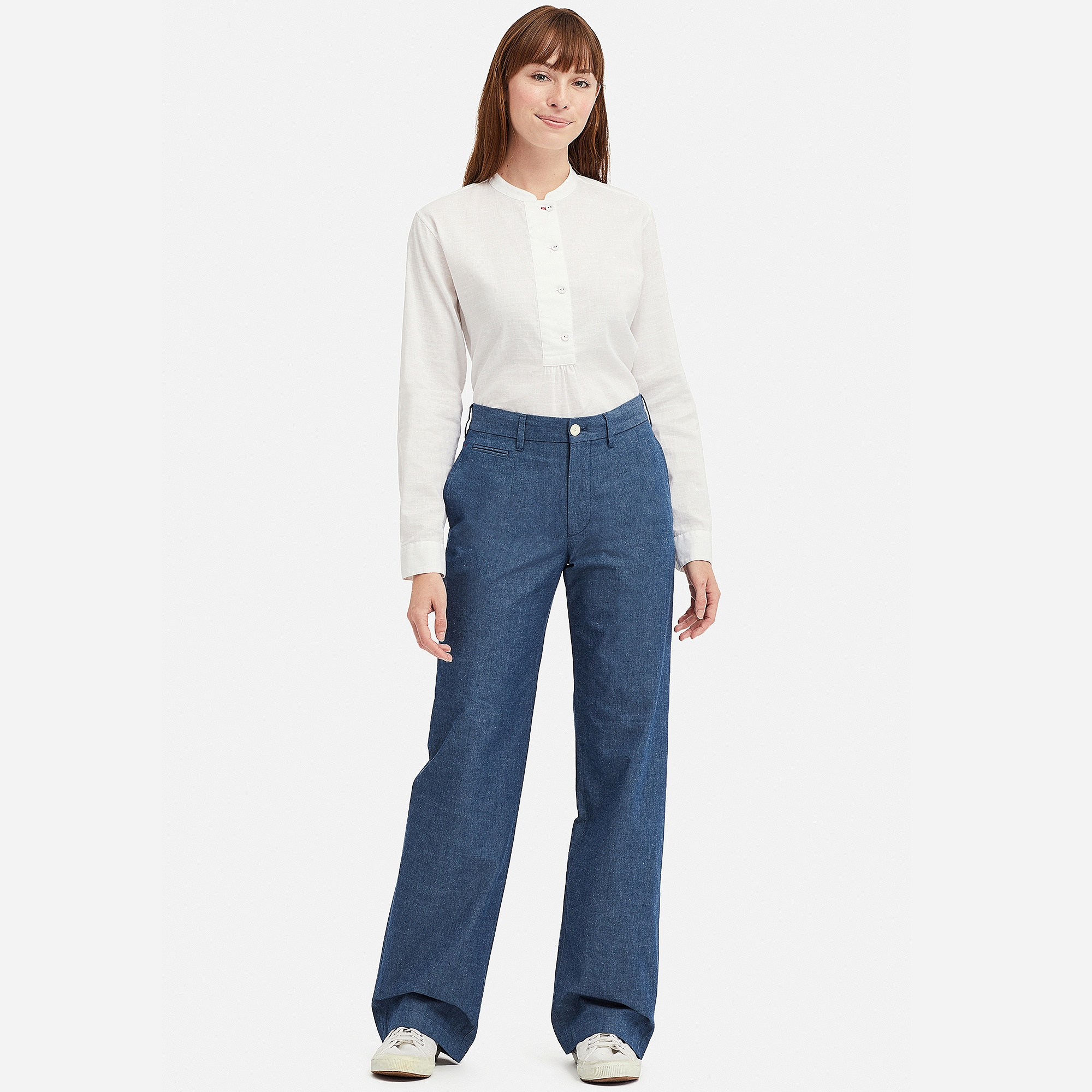 6cdc253a67 Uniqlo INES CHAMBRAY COTTON WIDE LEG TROUSERS at £14.9 | love the brands