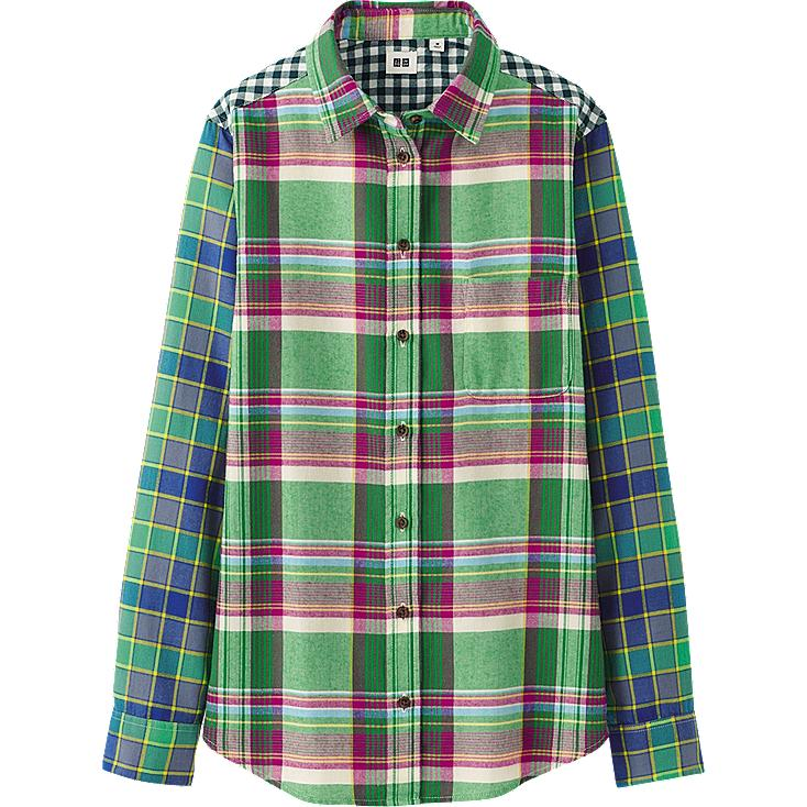 WOMEN FLANNEL CHECK LONG SLEEVE SHIRT