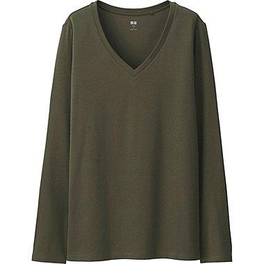 T-Shirt Col V En Coton Supima Manches Longues FEMME