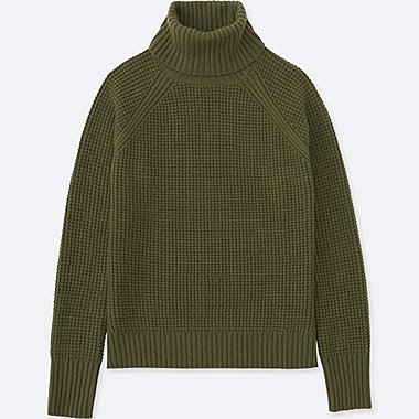 WOMEN CASHMERE BLEND TURTLENECK SWEATER